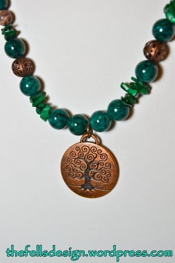 Gemstone necklace with Tree of Life pendant